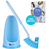 """Bathroom Toilet Bowl Brush with Holder Pan Lip Caddy Under The Rim 2 Brushes in 1 Motion 17"""" Antislip Grip Handle Premium ABS Deep Cleaning System Fibers Antimicrobial Agent Cleaning eBook"""