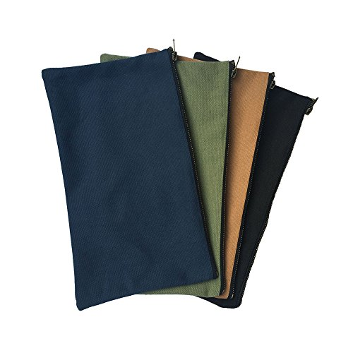 - Zipper Pouch(4 PCS), Small Tool Bag with Brass Zipper, Heavy Duty Canvas Tool Bags, Multi-Purpose Storage Tool Pouches, Canvas Bag, Zipper Pouch for Parts and Accessories