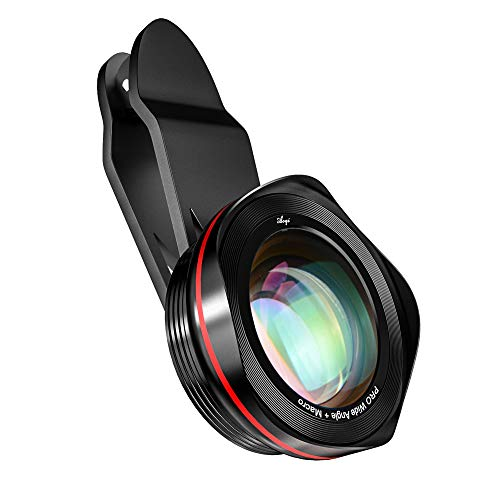 Phone Camera Lens Kit, 2 in 1 15X Macro and 0.45X Wide Angle Camera Lens Kit with Travel Case, Clip on Cell Phone Camera Lens Compatible with iPhone, Samsung, Pixel