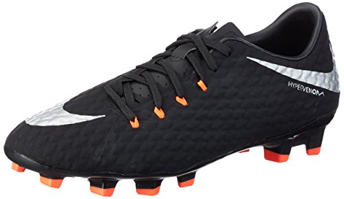 Nike Men's Hypervenom Phelon III FG Soccer Cleats (9.5 D(M) US, Black, Metallic Silver, Anthracite)