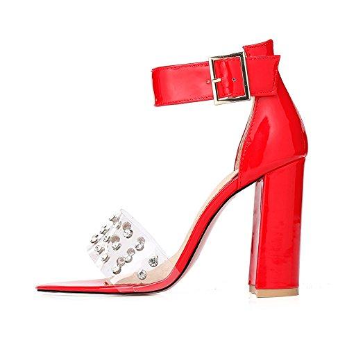 Peep Bloque Fiesta 45 Rojo Red 35 Tamaño Zapatos De Transparente Remache Para Pvc Correas Mujeres Sandalias Toe Nvxie Tacón Alto Noche Tobillo 0pwq0da