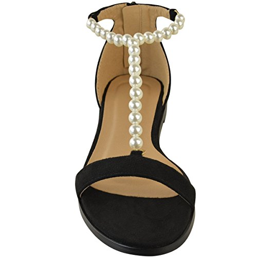 Black Strappy Pearl Womens Flat Summer Low Suede Sandals Faux Faux Thirsty Fashion Heel aT4wHfqx