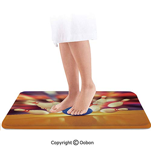 Bowling Party Decorations Bath Mat,Spread Skittles Blue Ball on Wooden Floor Moment of Crash Print Decorative,Plush Bathroom Decor Mat with Non Slip Backing,32 X 20 Inches,Multicolor