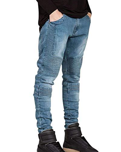 Slim Motociclista Con Fit Hellblau Destrutturato Da Taglio Strappati Uomo Denim Casual Jeans Abbigliamento Pantaloni q4ACwFcIx