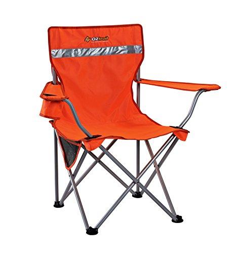 Tradie Hi Viz Sessel reflektierend Orange Campingstuhl mit Armlehne, maximale Belastung 110kg, 2.8kg 79x56x91cm Faltstuhl Klappstuhl mit Getränkehalter und Flaschenöffner in Armlehnen integriert, ideal für Baustelle, Aufbau, Sichtbarkeit FCE-TRAO-B