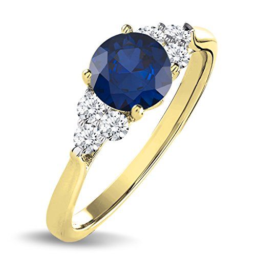 1.50 Carat 18K Yellow Gold Real Natural Round Cut Blue Sapphire & White Diamond Engagement Ring for Women ()