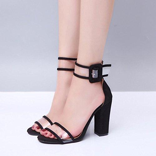 Ouneed Las mujeres bloquean hebilla sandalias de tacón alto tobillo plataformas zapatos Negro