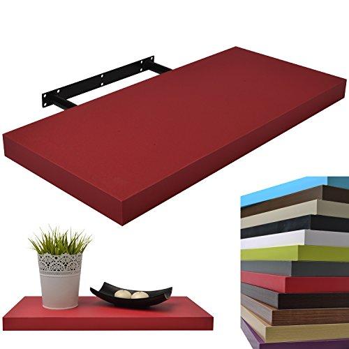 Moorland® Wandboard 25 cm in Rot, freischwebend, Wandregal mit hoher Tragkraft - in 3 Längen und diversen Farben