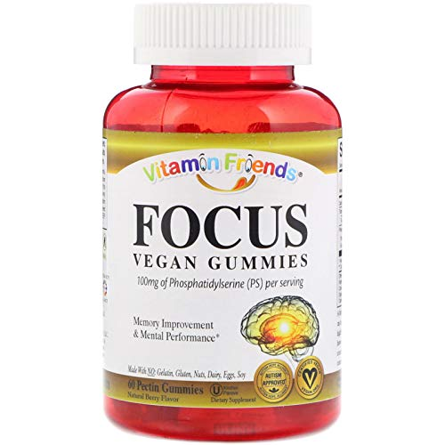 Vitamin Friends Focus Brain Health PS (Phosphatidylserine) Gummy Supplements - 60 Berry Flavored Gummies, Kosher, Allergen Free, Vegan