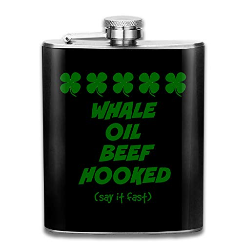 (TPSXXY Irish Lesson Whale Oil Beef Hooked Stainless Steel 7 Oz Hip Flask Men Women Silver Alcohol Whiskey Liquor)