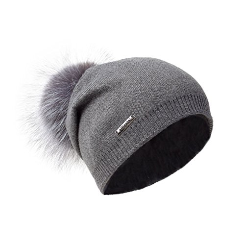 Pilipala Women Oversized Slouchy Beanie Bobble Hat by With Fur Pompom VC17601 Gray Gray - Hat Sized