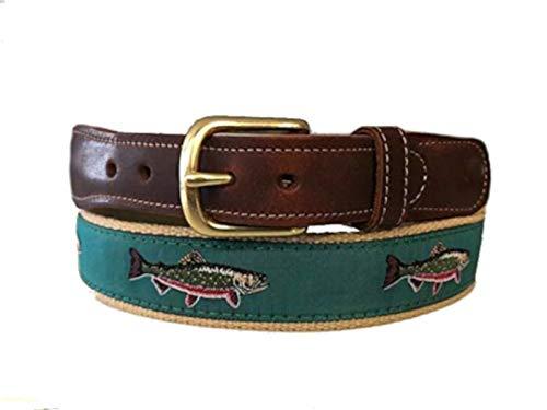 Men's Preston Leather Ribbon Teal Brook Trout Fish Belt (36) (Preston Fishing)