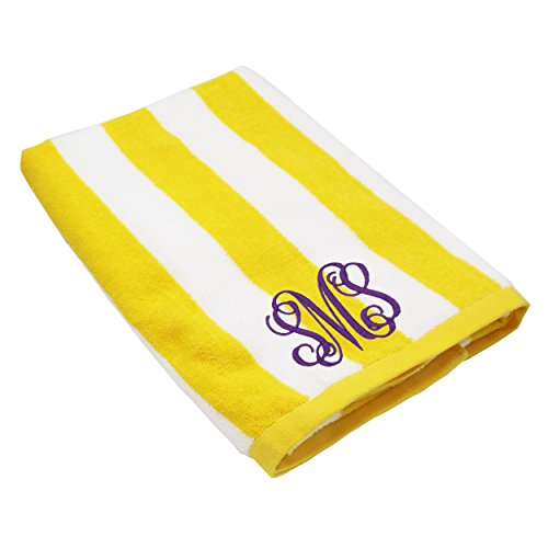 Monogrammed Striped Beach Towel - Personalized Pool Vacation Towels Gifts - Custom Embroidered for Free ()