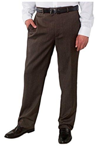 Kirkland Signature Men's 100% Wool Flat Front Dress Pants (44x32, Brown) (Mens Brown Dress Slacks)