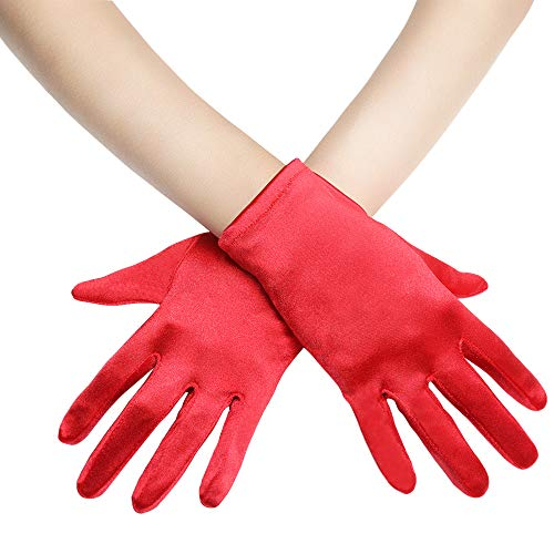 "BABEYOND Short Opera Satin Gloves Wedding Evening Gloves Special Occasion Gloves Wrist Length Tea Party Gloves 8.7"" Stretchy Gloves (Red) ()"
