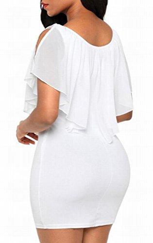 Di Womens Shoulder Chiffon Domple Vestito Mini Bodycon Sottile Adatto Volant Cold Partito Bianco EprrqI