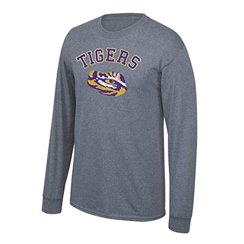 (Elite Fan Shop NCAA Men's Lsu Tigers Long Sleeve T Shirt Charcoal Vintage Lsu Tigers Charcoal)