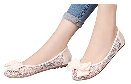Lady Office Soft Shoes Women Mesh Hollow Shallow Mouth Flat Bottom Set Foot Shoes Boat Shoes by Gyouanime Beige