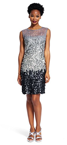 Adrianna Papell Women's Sleeveless Beaded Cocktail Dress, Sterling, 10