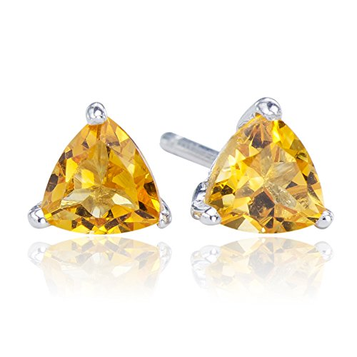 Intricate Natural Citrine Gemstone 925 Sterling Silver 925 Trilliant Stud Earrings