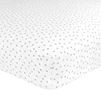 Just Born Cotton Fitted Crib Sheet, Grey Gramercy Dot