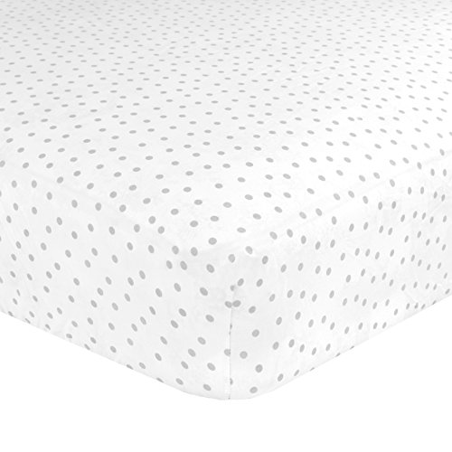 (Just Born Cotton Fitted Crib Sheet, Grey Gramercy Dot)