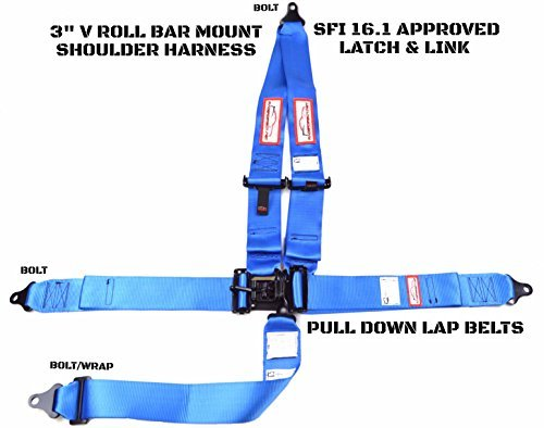 Racerdirect.net Racing Harness 3'' V Roll Bar Mount 5 Point Latch & Link Safety Race Harness Blue by Racerdirect (Image #1)