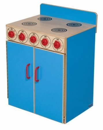 Healthy Kids Colors WD10100B Blueberry Stove Rounded, Unbreakable, Plastic Handles, colorful burners and Moveable Control Knobs