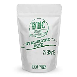 WHC Hyaluronic Acid Powder 25g (250 Servings)   Improved Joint Health   Healthy Young Skin   Make Your Own DIY Anti-Aging Serum, Cream, Lotion, or Gel