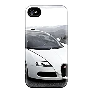 Awesome White Bugatti Hd Flip Case With Fashion Design For Iphone 4/4s