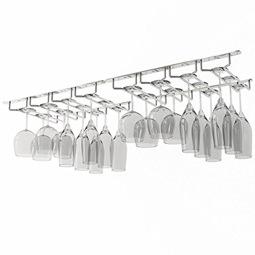 WALLNITURE Under Cabinet Stemware Glass Storage Rack Chrome Finish 17 3/4 Inch Set of 2 (24 Wine Glasses)
