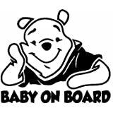 "Baby on Board Winnie De Pooh Baby Decal Sticker Vinyl for Car Windows (5.5"" inches (Black))"