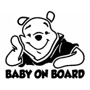 Baby on Board Winnie De Pooh Baby Decal Sticker Vinyl for Car Windows (5.5  inches (Black))