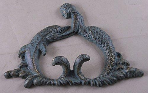 Iron Verdigris Mermaid Holding Dolphin Hook