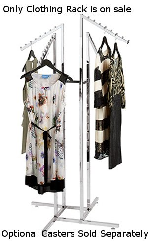 - New Retails Chrome 4-Way Clothing Rack with Slant Arms and Adjustable Leveler