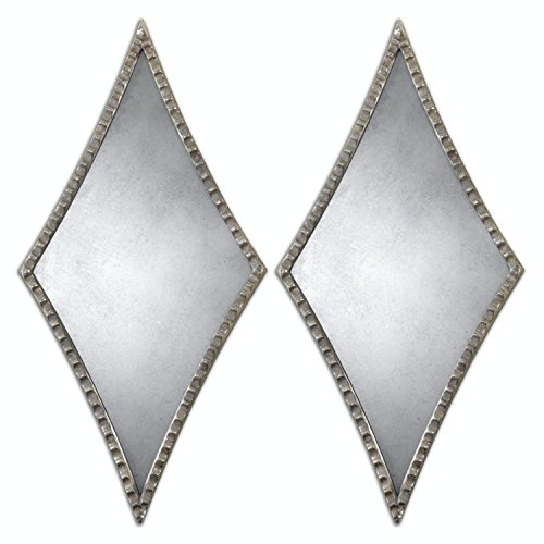 Set of 2 Gaston Diamond-Shaped Wall Mirrors with Oxidized Silver Scalloped - Frame Diamond Shaped
