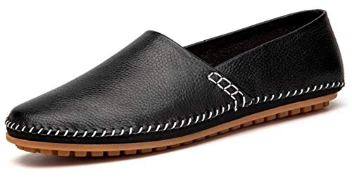 (Go Tour Men's Classy Slip-on Casual Mocassin Leather Loafers The Go Driving Boat Shoes Black)