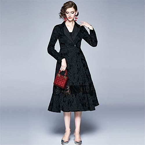 YXCL Femmes Trench-Coat pour Les Femmes Slim Fit Long Manteau de Printemps Automne survêtement Manteau Revers Dentelle Trench Manteaux lâche,XXL