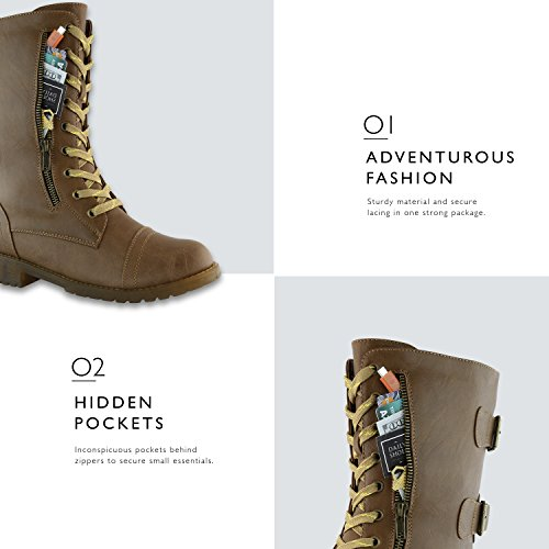 Combat Exclusive Knee Women's Premium Mid Military Credit Up PU Boots Pu Card Tan High Buckle Pocket w8Yp8qt