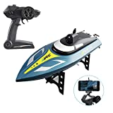 GotechoD Remote Control Boats for Pools and Lakes FPV RC Boat with HD WiFi Camera Live Video 25KM/H High Speed Self Righting Electric Racing Boat Toys for Boys Adults Kids Gifts