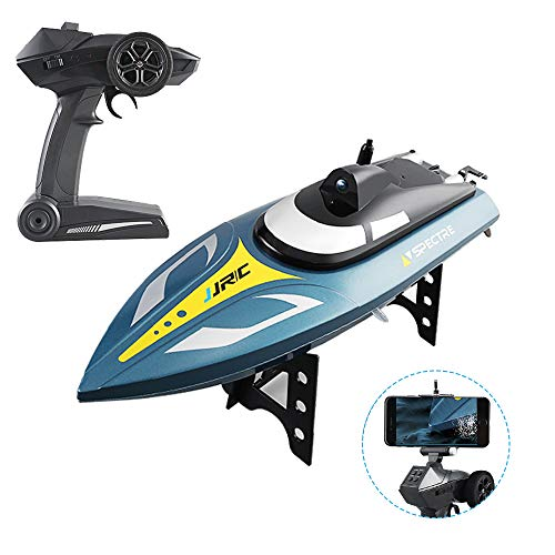 GotechoD Remote Control Boats for Pools and Lakes FPV RC Boat with HD WiFi Camera Live Video 25KM/H High Speed Self Righting Electric Racing Boat Toys for Boys Adults Kids Gifts (Camera Boat)