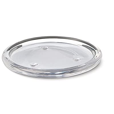 Obecome Round Clear Glass Pillar Candle Holder Plate for Wedding,5 Packs