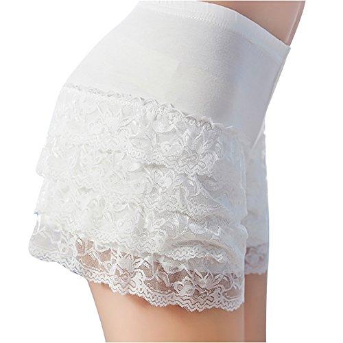 - Women Shorts Ladies Under Skirt Dresses Protective Lace Modal Underpants White