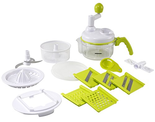 SHINKODA Manual Food Processor, All In One Chopper, Mixer, Blender, Whipper, Slicer, Shredder, Grinder and Citrus Juicer - Salad Maker & Mandoline Set With 5 Interchangeable Blades,4 Cup - Green/White