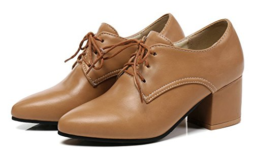 Aisun Womens Professional Wear To Work Office Dressy Pointed Toe Mid Chunky Heel Lace Up Pumps Shoes Brown vZmBV