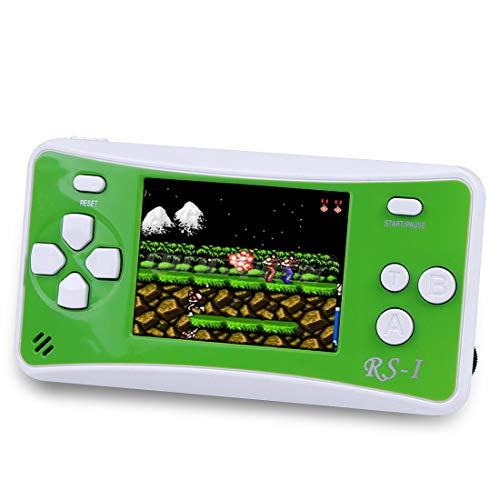 """Sollop RS-1 Handheld Game Console for Children,The 80's Arcade Retro Game Player with 2.5"""" 8-Bit LCD Portable Video Games Can Connected TV,Built-in 152 Classic Old School Games Entertainment(Green)"""