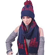 LerBen Women Girls Fashion Winter Warm Ski Slouch Beanie Hat Cap Scarf Set