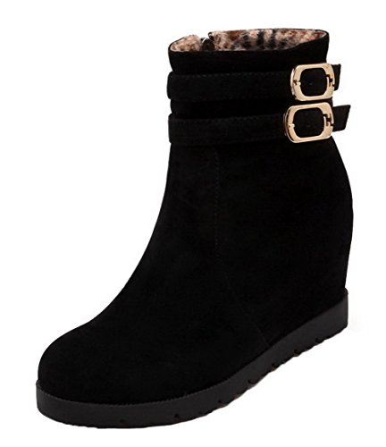 AgeeMi Shoes Women Zipper High-Heels Round Closed Toe Suede Low-Top Boots Black