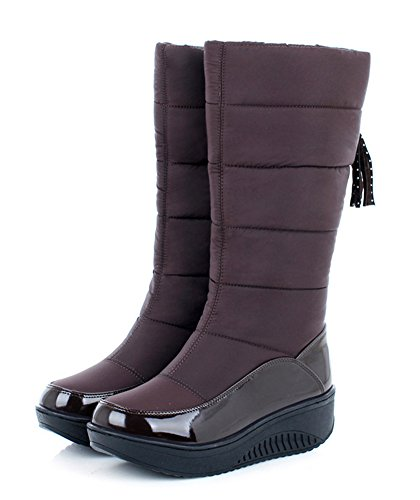 Aisun Donna Caldo Impermeabile Punta Tonda Suola Spessa Piattaforma Slip On Low Tall Dress Dress Mid Calf Snow Boots Shoes Brown