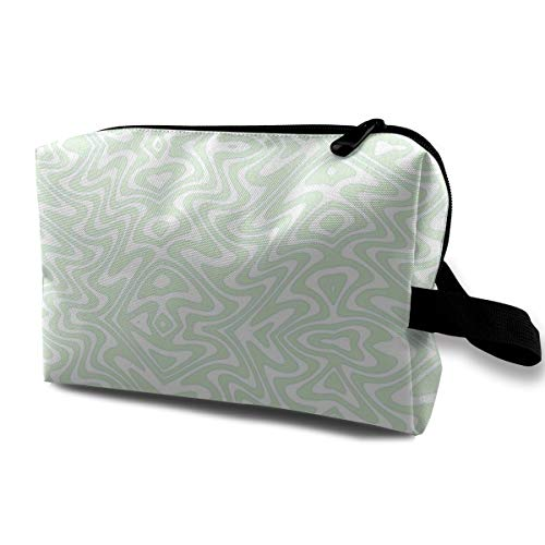 - Art Nouveau Butterfly Swirls - Pale Mint_1958 Toiletry Bag Cosmetic Bag Portable Makeup Pouch Travel Hanging Organizer Bag For Women girl 10x5x6.2 inch